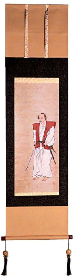 宮本武蔵肖像掛け軸(紺)