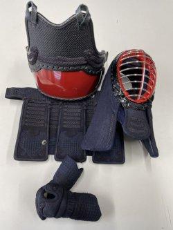 画像2: 源武堂オリジナルミニ剣道防具 本格手刺防具、二分刺、紺皮仕立